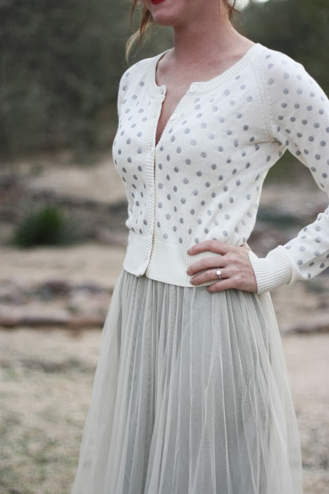 Stylish grey polka dot cardigan and grey skirts
