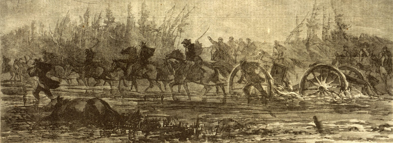 waud alfred r alfred rudolph 1828 1891 artist dragging artillery through the mud 1 print wood engraving 35 x 13 cm image 1864 march