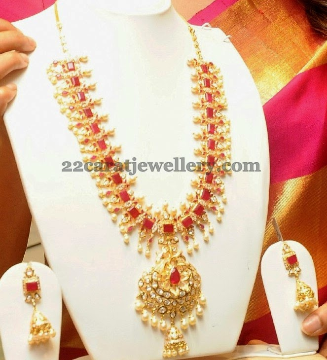 Ruby Long Set with Jhumka Locket