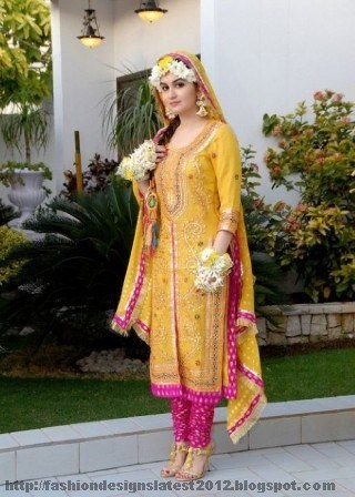 Yellow and green mehndi dresses images