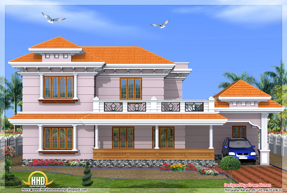 Kerala model 2500 sq ft 4 bedroom home kerala home for Pictures for house