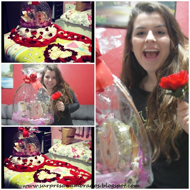 cesta de chocolates e pétalas de rosas