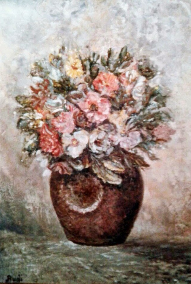 jarrón con flores cuadro expresionista de pintora Rudi