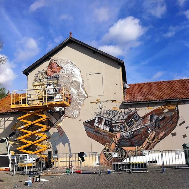 Street Art Collaboration By Vhils and Pixel Pancho On The Streets Of Lisbon, Portugal. 5