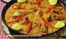 resep praktis dan mudah membuat (memasak) masakan khas spanyol paella con pollo spesial enak, lezat, gurih