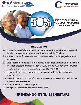 HidroSistema de Córdoba invita a adultos mayores de 65 años a obtener el 50 % de desc. en su pago