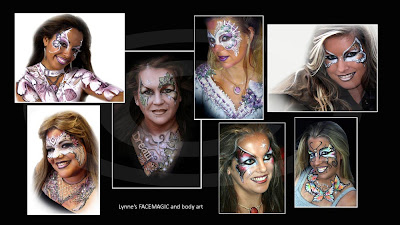 Glamour face painting pictures with roses, lace, gems, swirls, necklace, buckles and shadow fantasy body painter Melbourne