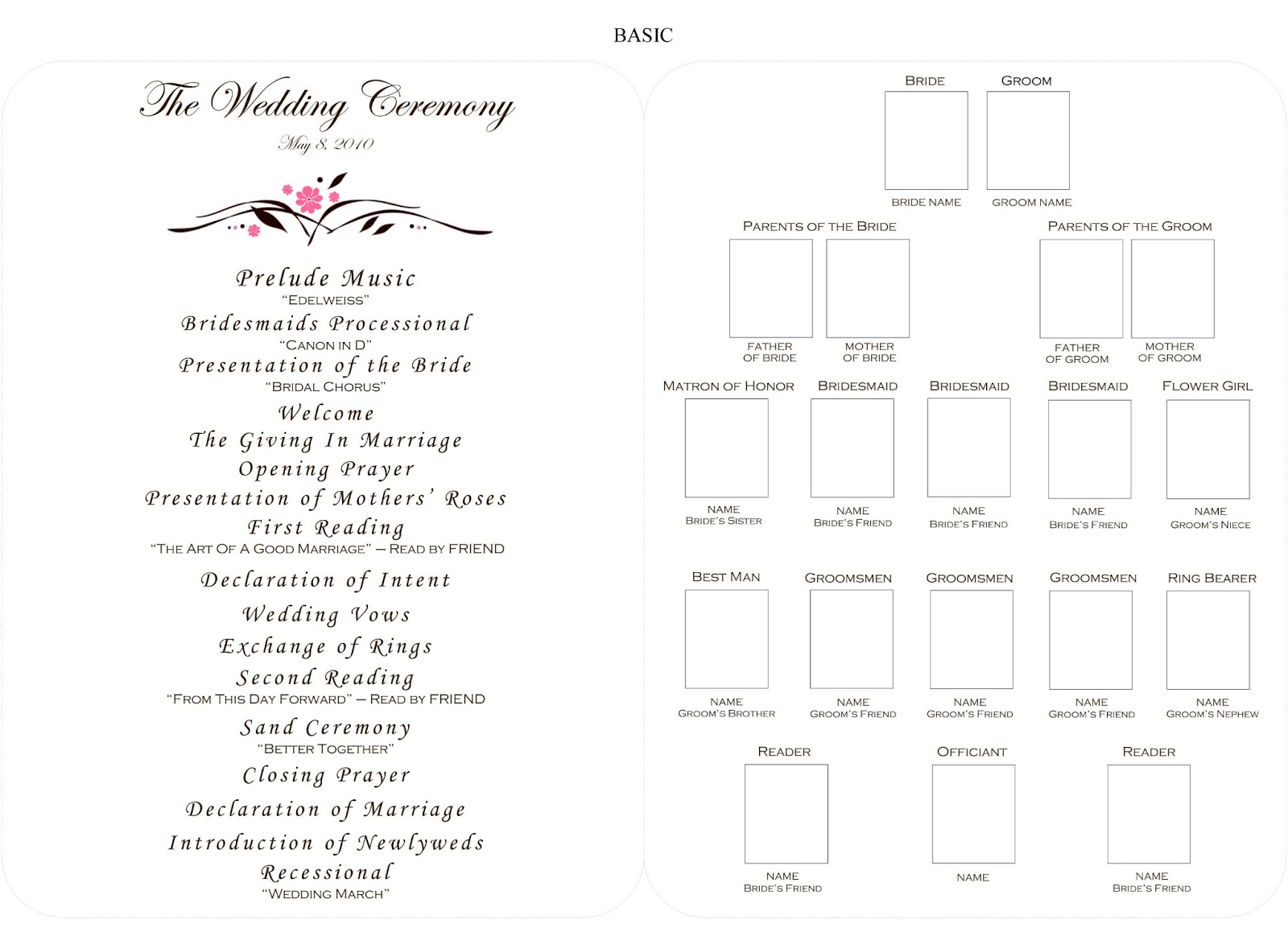 wedding ceremony program outline template