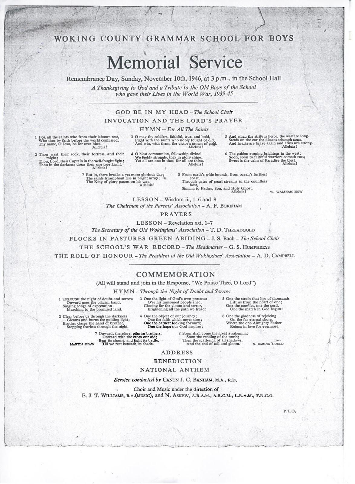 Order Of Memorial Service 1946 Investment Banking Blog Articles