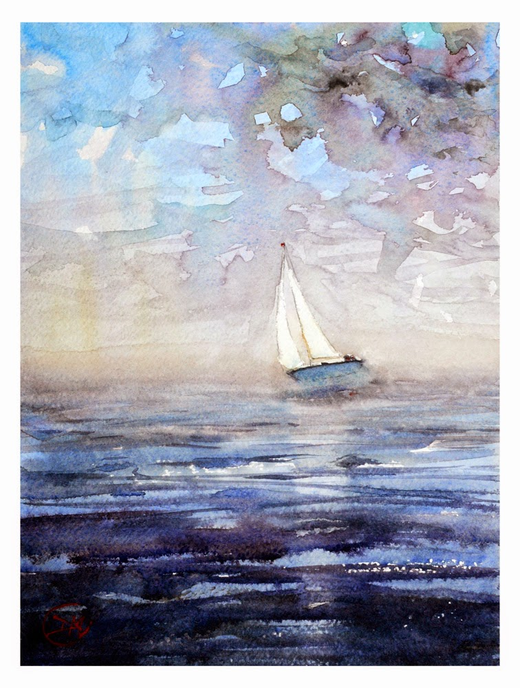 Watercolour of sailing boat by David Meldrum