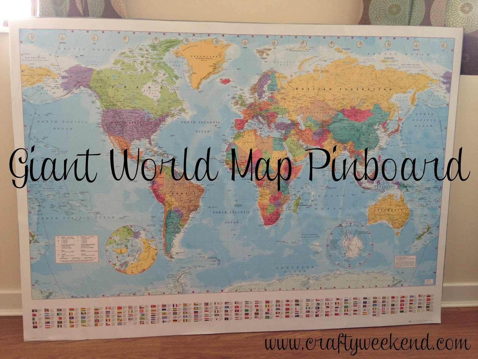 Giant world map pinboard crafty weekend craft projects for the world map pin board cork board instructions gumiabroncs Choice Image