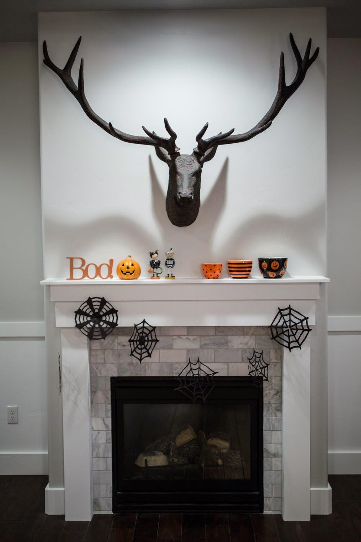 restoration hardware stag head and halloween decor
