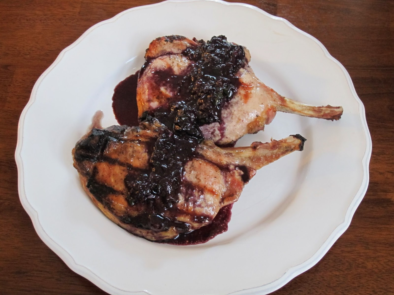 Grilled Bone-In Pork Chops with Balsamic Blueberry Sauce