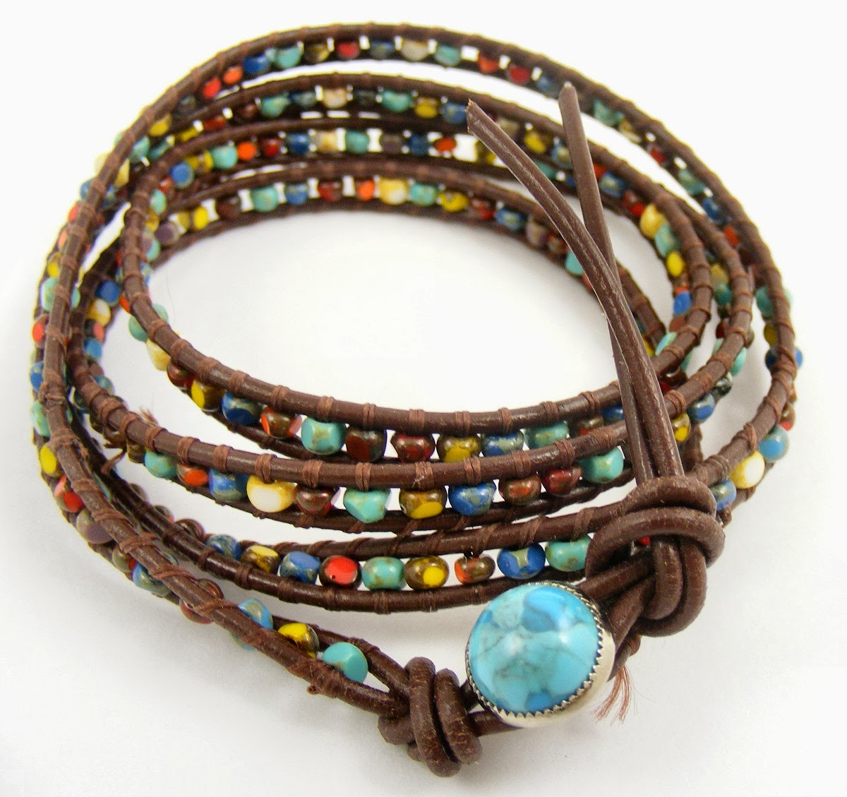 Leather Wrap Bracelet With Size 5 And 6 Faceted Seed Beads
