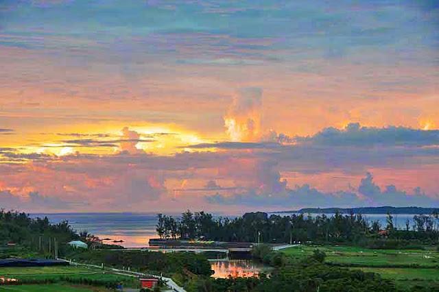 Okukubi River, sunrise, ocean, sky
