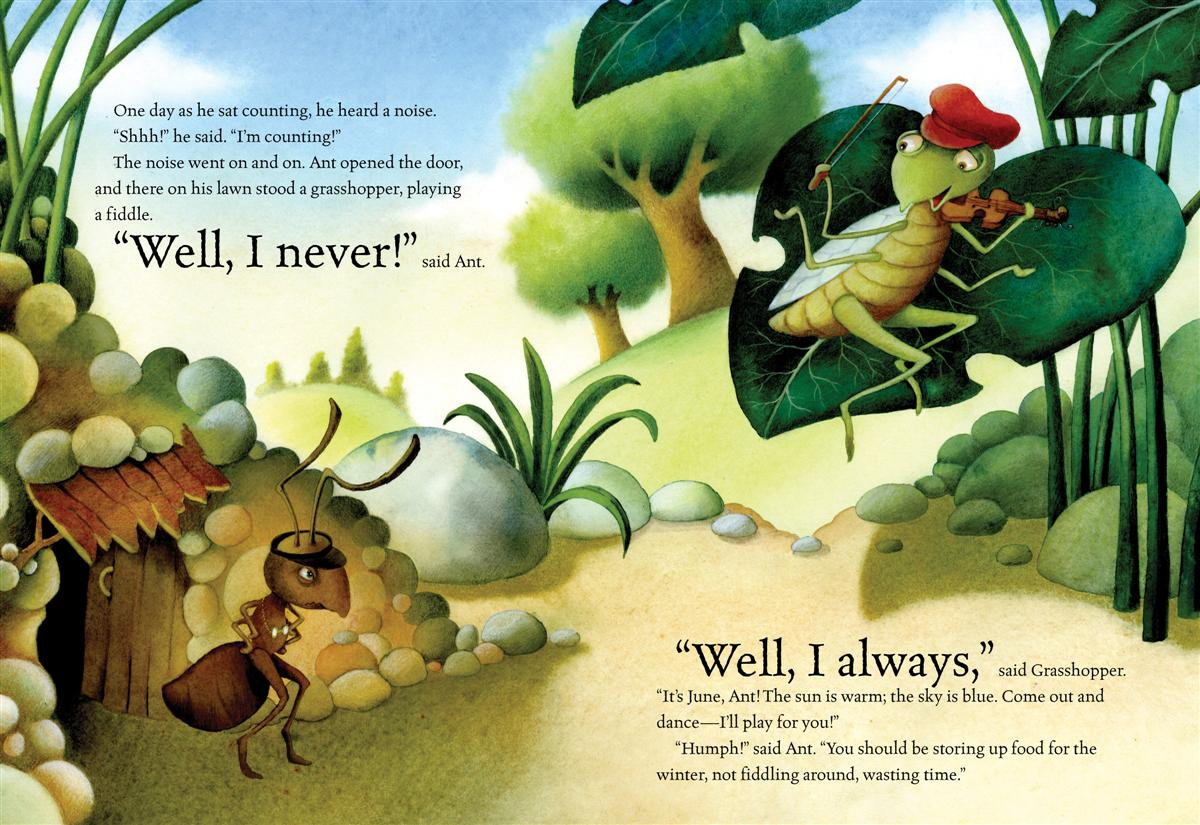 Current image inside the ant and the grasshopper story printable