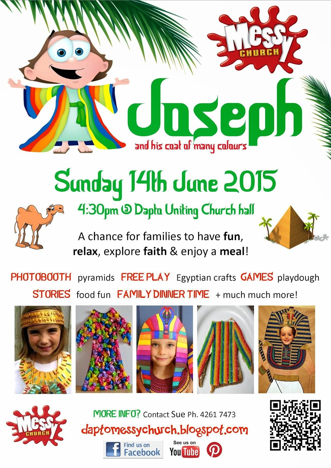 Messy Church @ Dapto Uniting: INVITE: Joseph and his Coat of Many ...