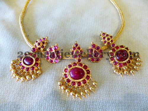 1 Gram Gold Choker in Rubies Jewellery Designs