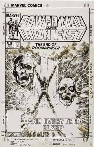Original de Powerman and Iron Fist #104 cover-John Byrne bocetos y lápices