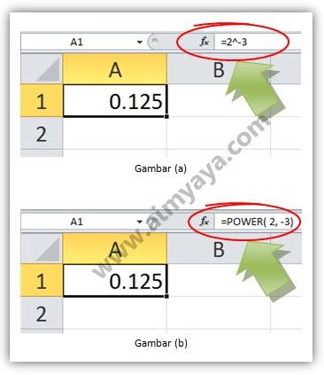 Gambar: Contoh perhitungan bilangan berpangkat negatif di Microsoft Excel 2010