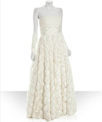 Alberto+Makali+ivory+silk+strapless+rosette+gown