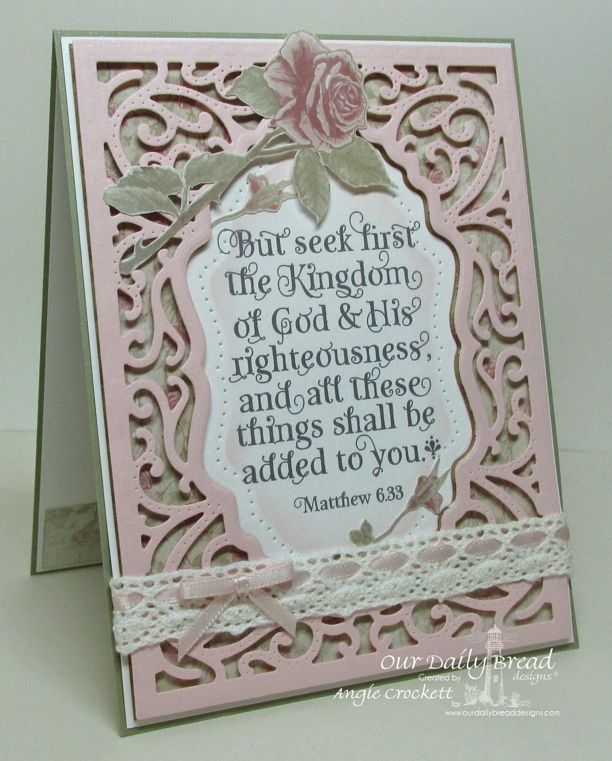 ODBD God Verses, ODBD Custom Vintage Flourish Pattern Dies, ODBD Shabby Rose Paper Collection, Card Designer Angie Crockett