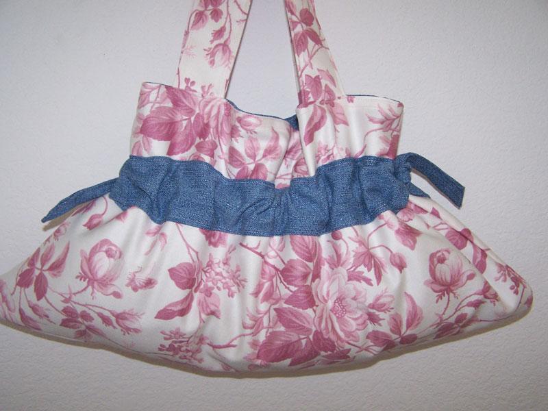 Handmade Drawstring Purse Handbag Pretty Pink Wild Roses