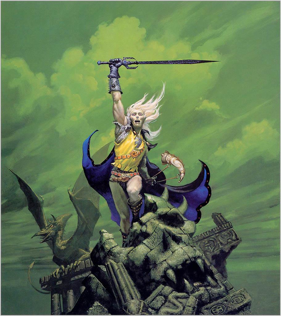 Elric y Stormbringer, inmortalizados por Michael Whelan