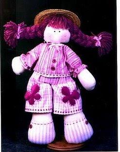 Boneca rosa com tranças