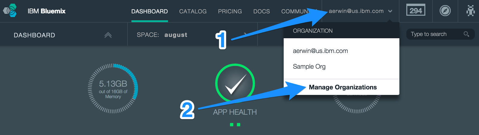 Bluemix UI: Select Manage Organizations from Banner