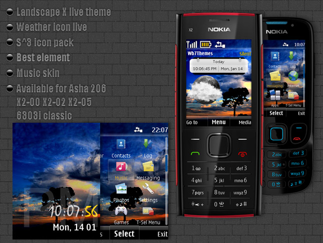 Landscape X live theme compatible for Nokia X2-00, X2-02, X2-05, 6303i ...