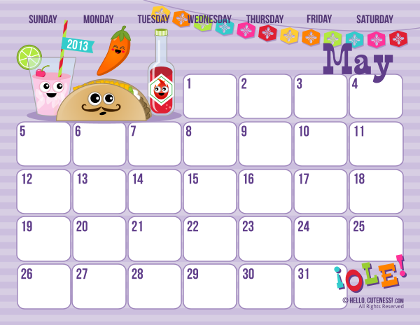 Free Cute May 2013 Printable Calendar!*