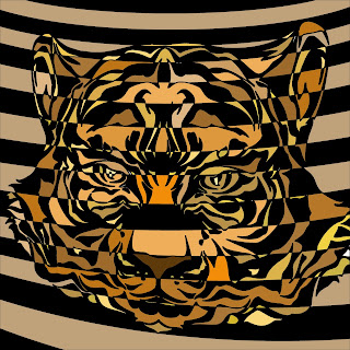 casino graphic of a tiger op art style work