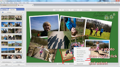 re order bring to front, send to back photos in collages on picasa