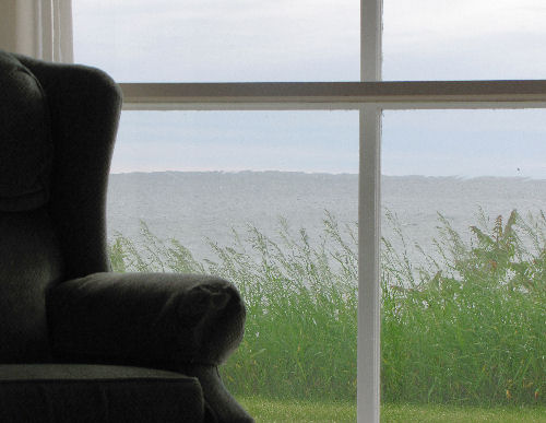 chair with view of lake