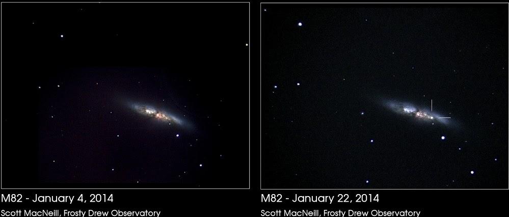 Scott MacNeill ở Đài quan sát Frosty Drew đã chụp hình về thiên hà M82 trong tháng này trước và sau khi xảy ra vụ nổ siêu tân tinh. Tác giả : Scott MacNeill.
