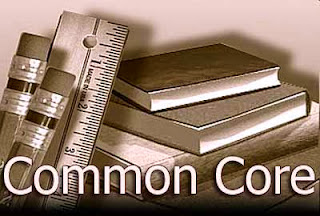 Picture of textbooks and pencils and rulers and Common Core typed at the bottom