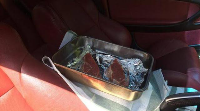 Masak Steak di Dashboard Mobil