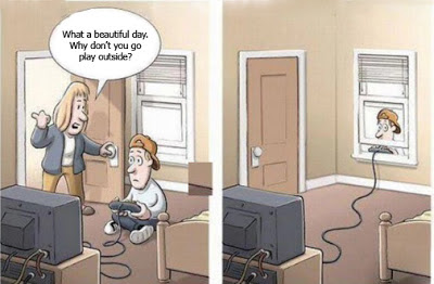 Nice beautiful day out, play video games, funny gaming joke