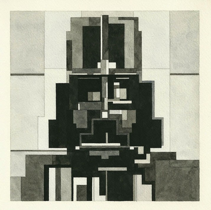 Adam Lister, acuarelas 8 bits, Darth Vader