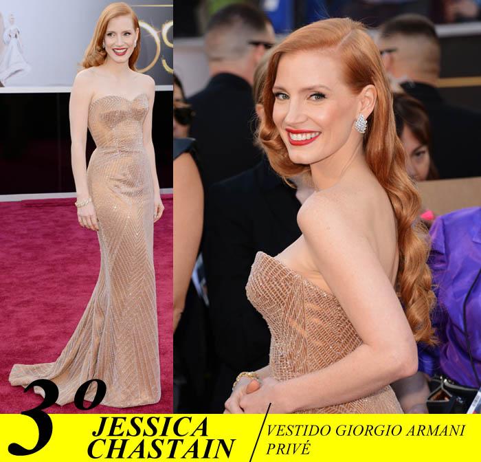A NOITE DO OSCAR_Top 5_Mais bem vestidas do Oscar 2013_Jessica Chastain_ vestido Girogio armani privé