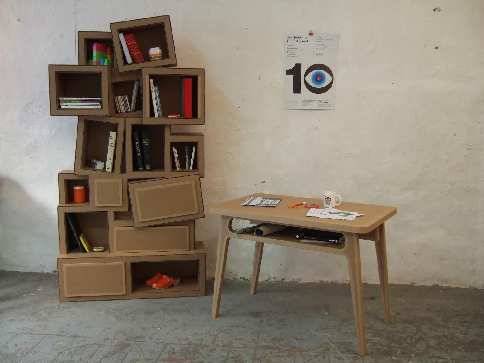table haute en carton avec case de rangement et étagère en carton design avec cases et tiroirs fabriquée à marseille par juliadesign
