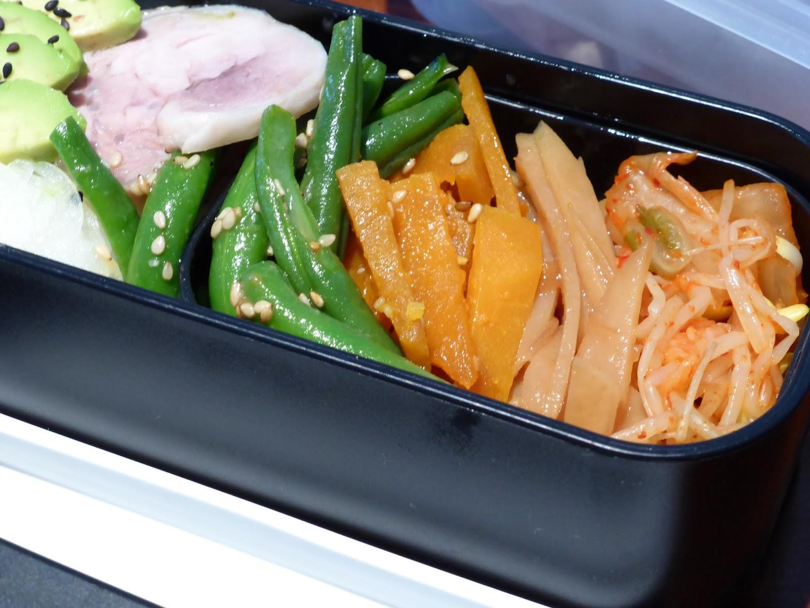 便當#2 味噌芝麻拌四季豆、簡單炒脆脆馬鈴薯、韓式泡菜拌黃豆芽