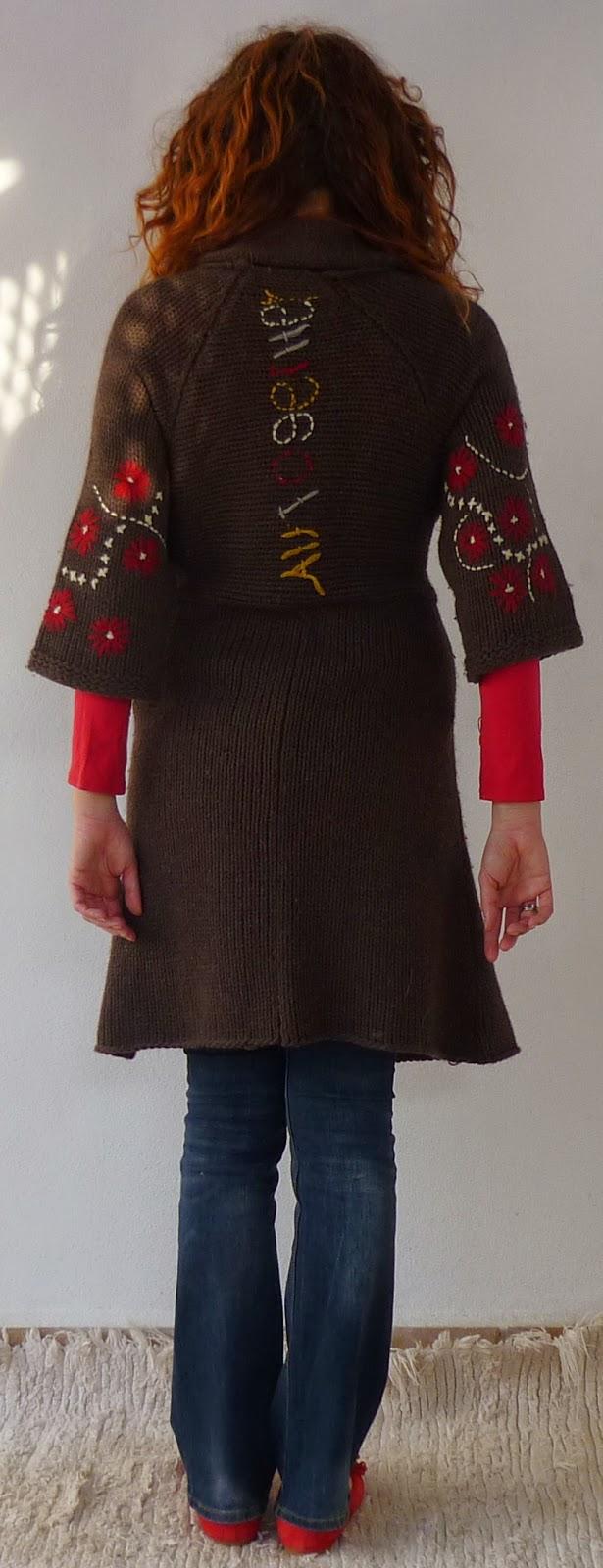 chaqueta punto desigual marrón