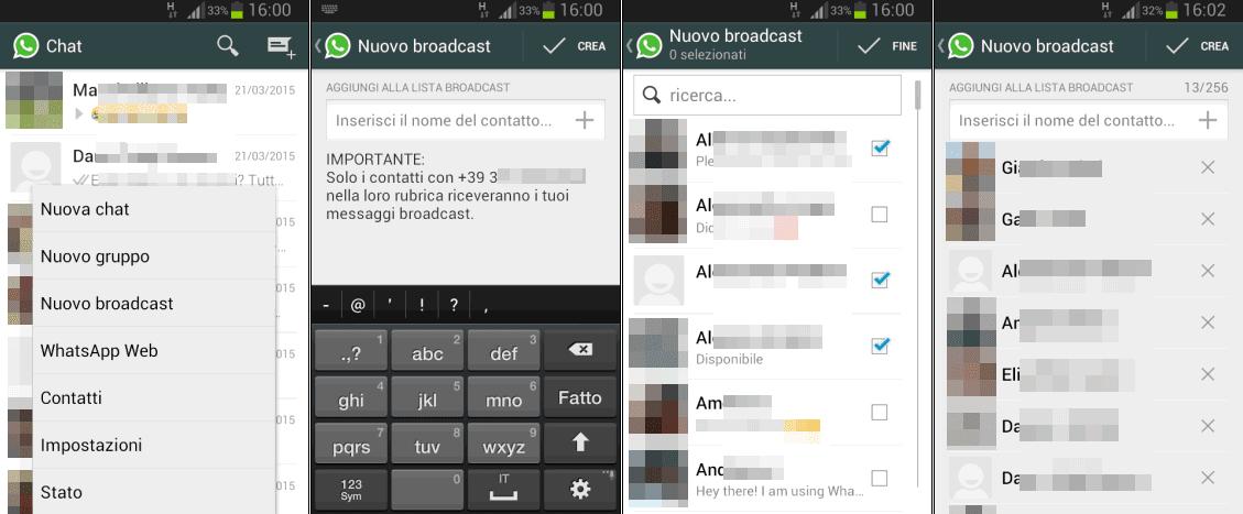 Creare Nuovo broadcast WhatsApp