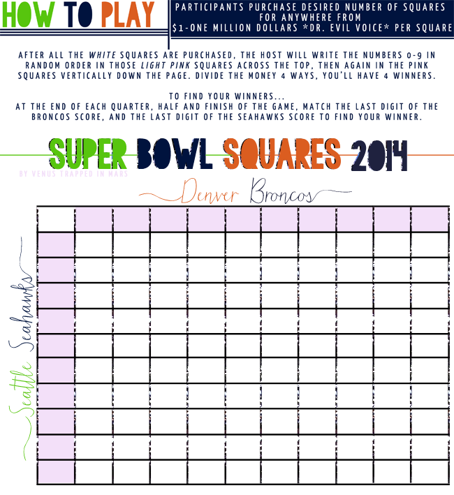 Super Bowl Party Squares