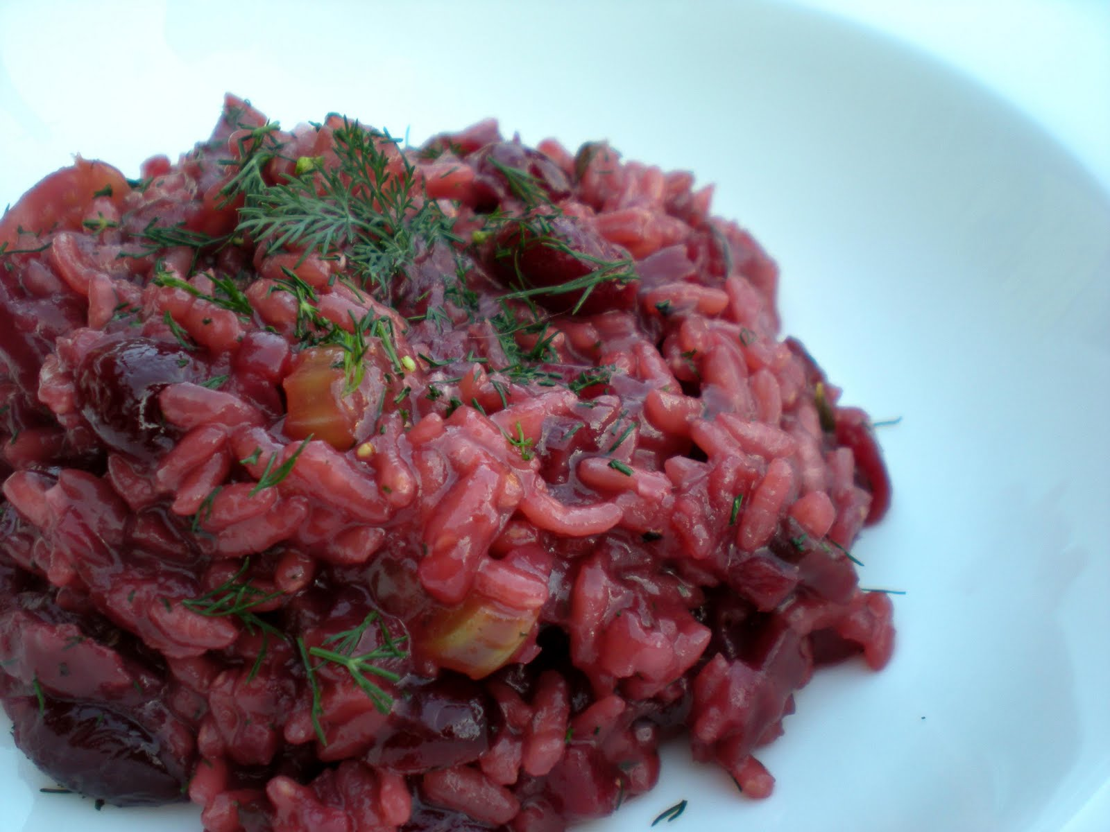 is it worth waiting for?: beetroot, cherry and red wine risotto