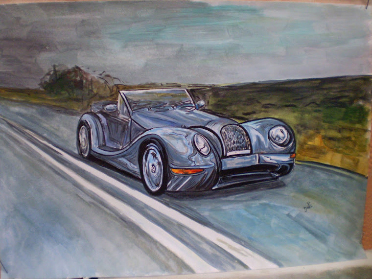 Morgan Aero 8 , acrylic, hand painted, signed Joli, A4