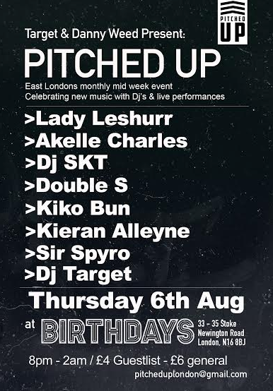 JOIN LADY LESHURR, SIR SPYRO & MORE & PITCHED UP, AUGUST 6TH!