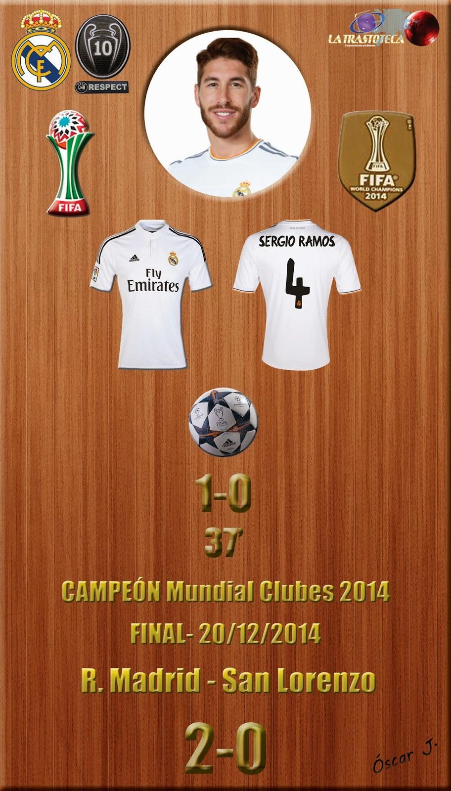 Sergio Ramos (1-0) - Real Madrid CAMPEÓN DEL MUNDO - Real Madrid 2-0 San lorenzo - Mundial de Clubes de la FIFA MARRUECOS 2014 - FINAL (20/12/2014)